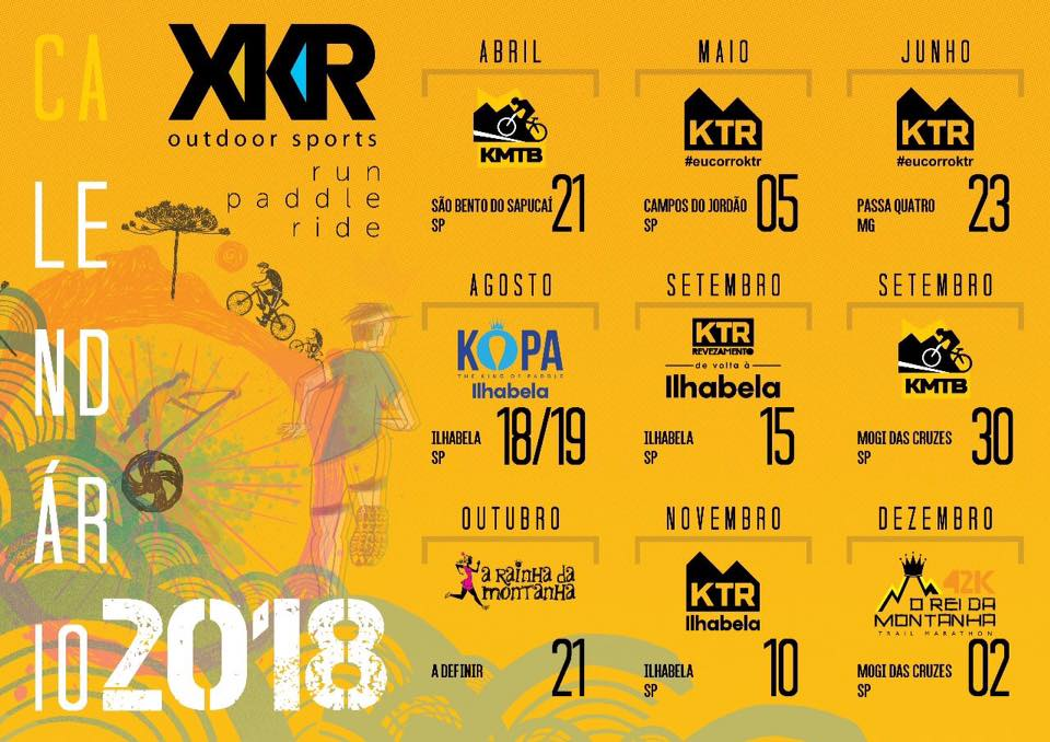 Calendário XKR 2018: união das empresas Índice Marketing Esportivo e Kailash (KTR)
