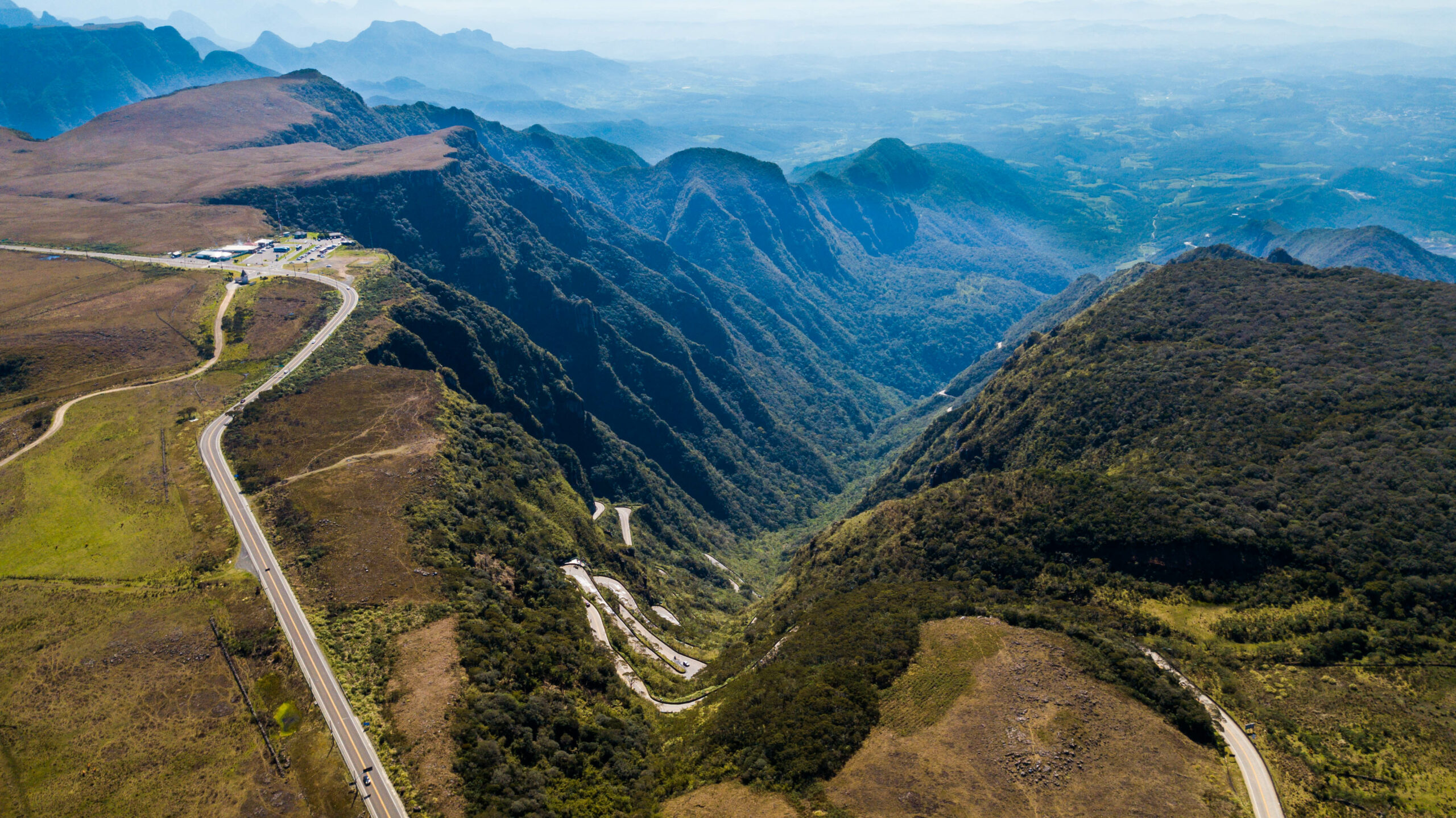 Aerial view of Serra do Rio do Rastro, in the Serra Catarinense. (Route Sierra of the trail river). Most beautiful and incredible road in Brazil